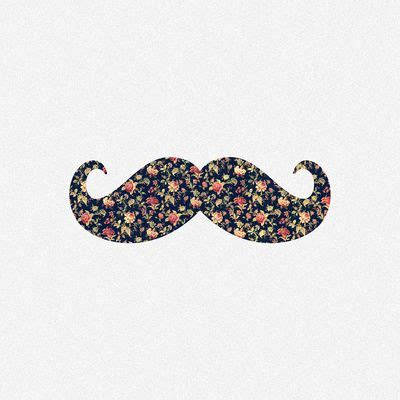 Funny Girly Mustache Pink Vintage Floral Pattern Stretched